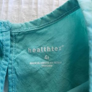healthtex Matching Sets - 2Pc Set Squa Blue Flower  Dress Top Leggings 4T